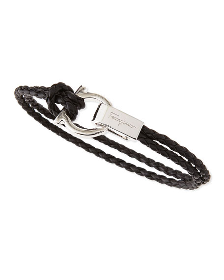 Woven Leather Gancini Bracelet, Black