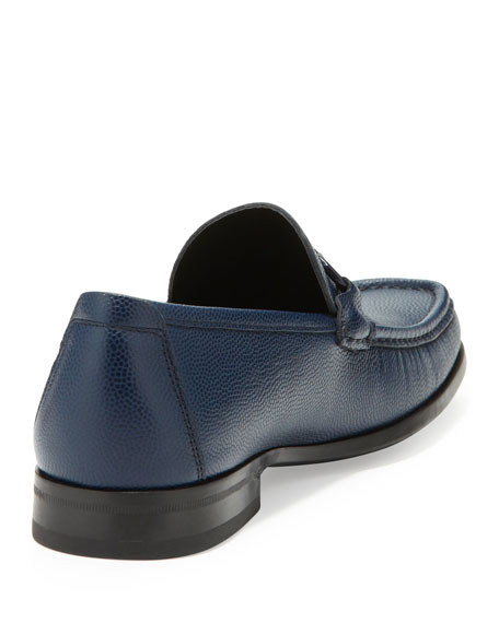Pebbled Leather Loafer, Navy