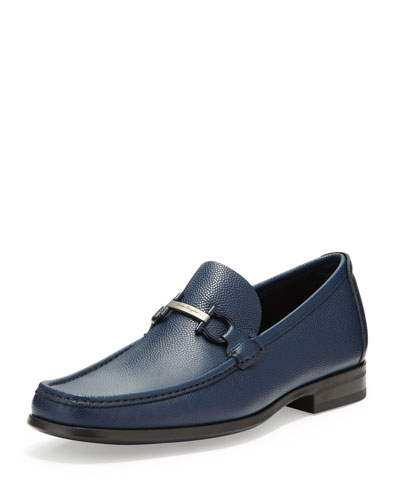 Salvatore Ferragamo Regal Pebbled Leather Loafer, Navy