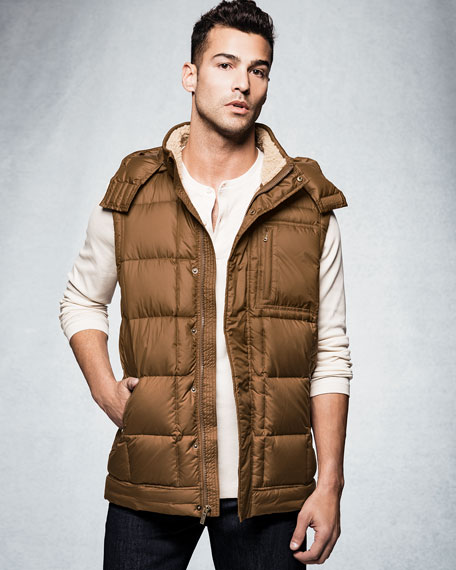Poia Hooded Puffer Vest, Chestnut