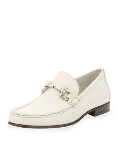 Salvatore Ferragamo Giordano Leather Bit Loafer, White