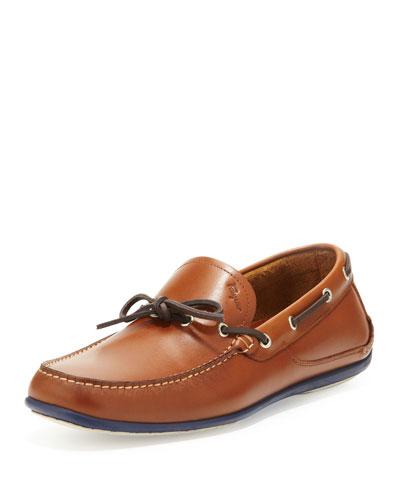 Salvatore Ferragamo Mango Leather Boat Shoe, Brown