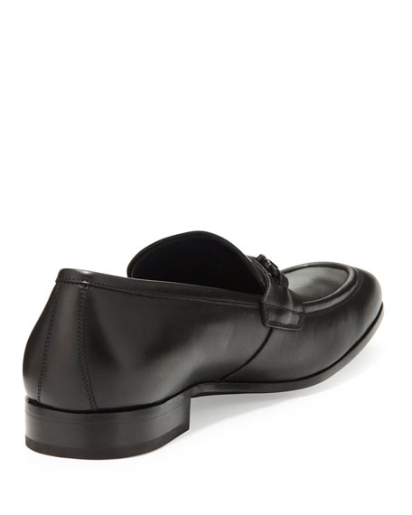 Ravenna Gancini Leather Loafer, Black