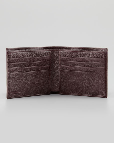 Grain Leather Logo Wallet, Bordeaux