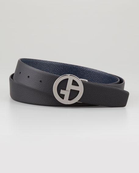 Reversible Pebbled Logo-Buckle Belt, Blue/Black