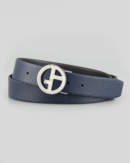 Reversible Pebbled Logo-Buckle Belt, Blue/Black