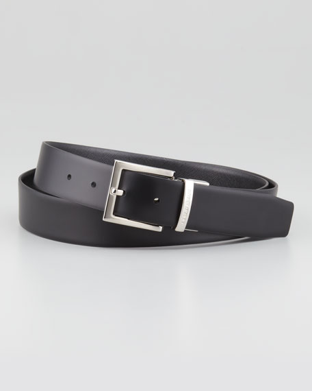Reversible Saffiano/Smooth Belt, Black