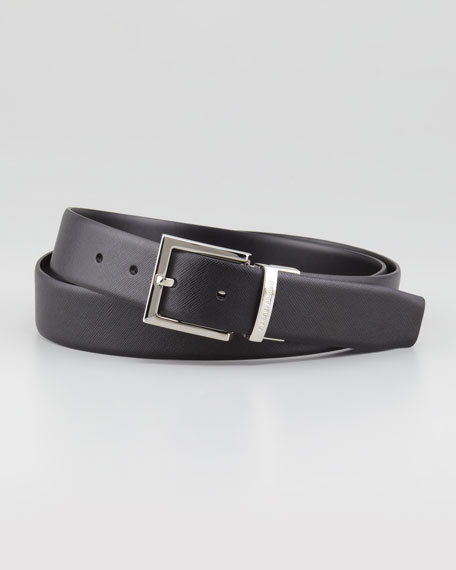 Reversible Saffiano/Smooth Belt, Black