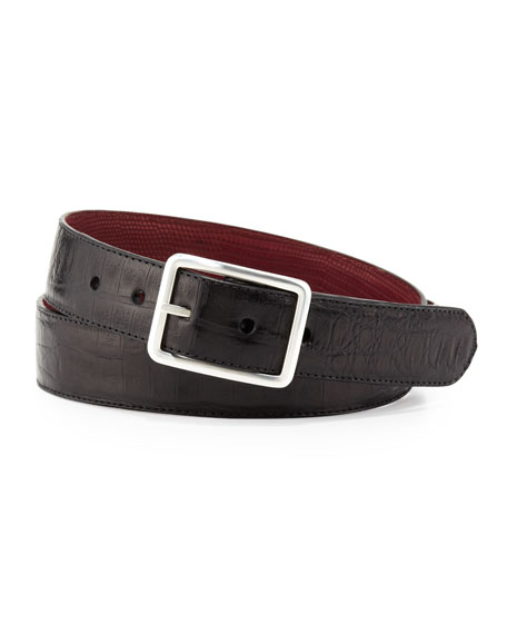 Reversible Croc/Lizard Belt, Black/Burgundy