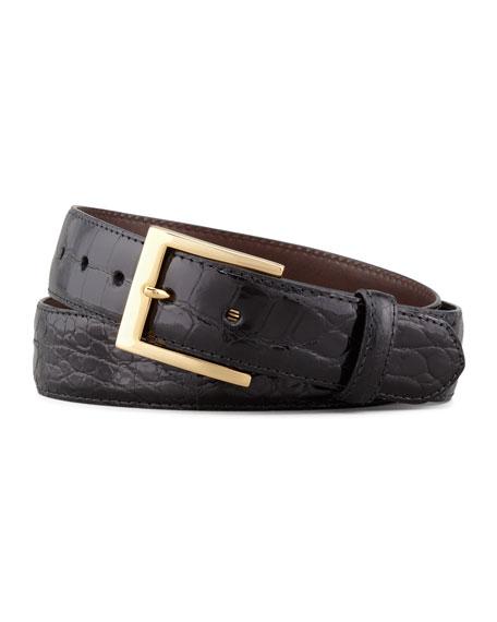 W. Kleinberg Glazed Alligator Belt, Black