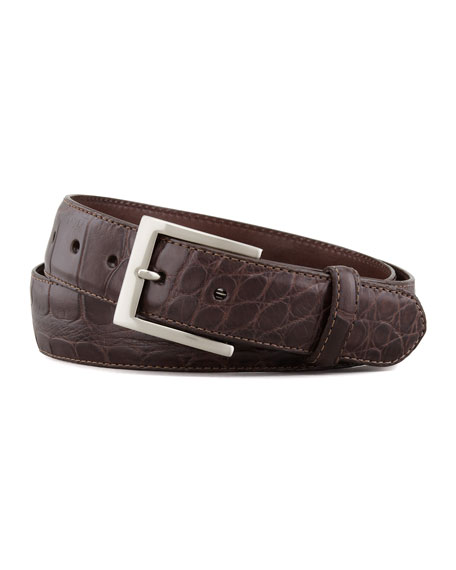 W. Kleinberg Matte Alligator Belt with Interchangeable Buckles