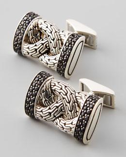 John Hardy Classic Chain Black Sapphire Cuff Links