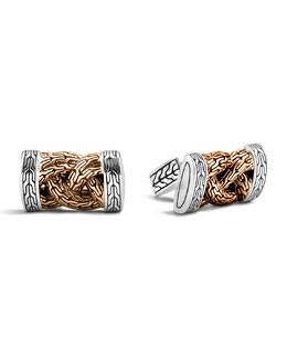 John Hardy Bronze & Sterling Silver Braid Cuff Links