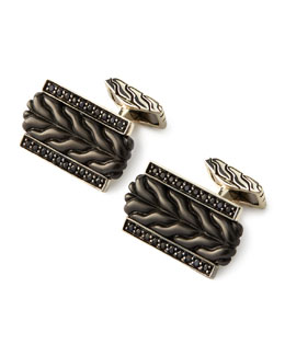 John Hardy Chain Black Bronze & Black Sapphire Cuff Links