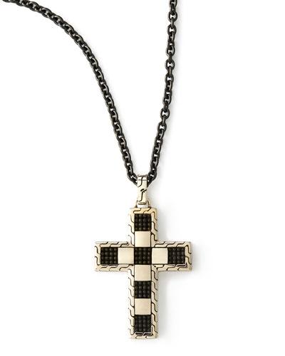 Poleng Men's Cross Pendant Necklace