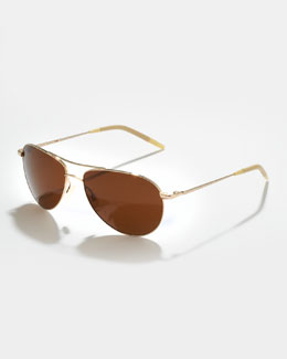 Oliver Peoples Benedict Basic Polarized Aviator Sunglasses, Java