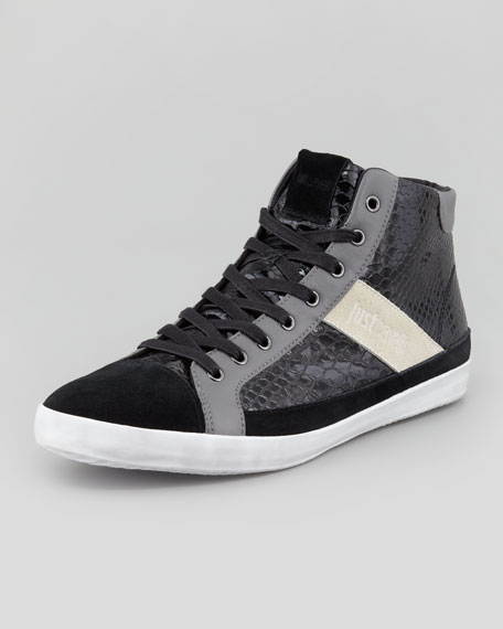 Python-Embossed Leather High-Top Sneaker, Black