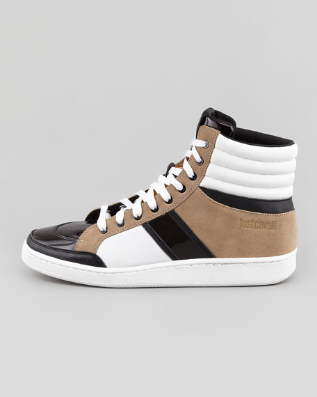 Ombre-Tongue High-Top Sneaker, White/Black/Tan