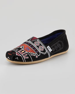 TOMS Embroidered Suede Slip-On, Black