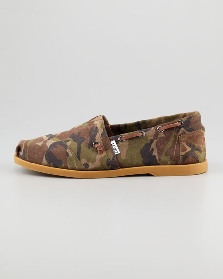 Camo-Print Suede Boat Slip-On