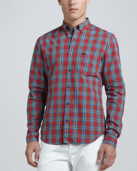 Burberry brit plaid woven sport shirt red for Burberry brit plaid shirt