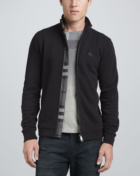 Cotton Zip Jacket, Black