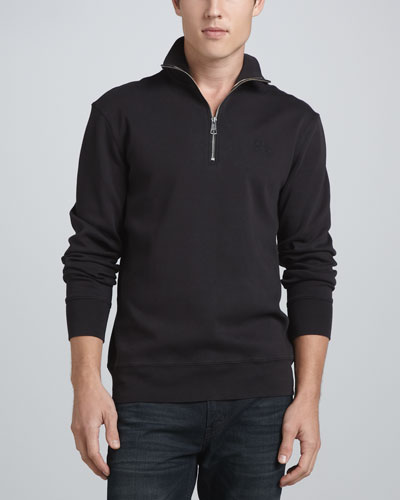 Pima Cotton Half-Zip, Black