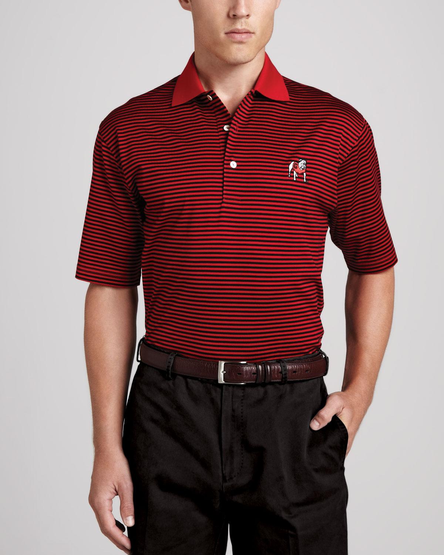 Peter Millar Georgia Bulldogs Gameday Polo College Shirt Striped