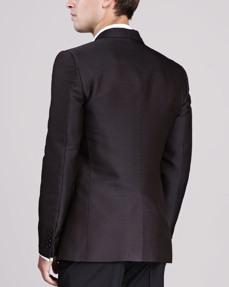 Jacquard Two-Button Jacket, Brown