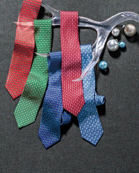 Exclusive Christmas Tree Silk Tie, Blue