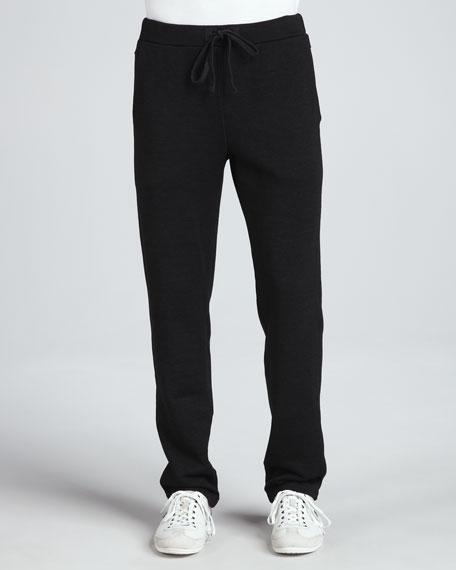 Achilles Drawstring Fleece Pants, Black