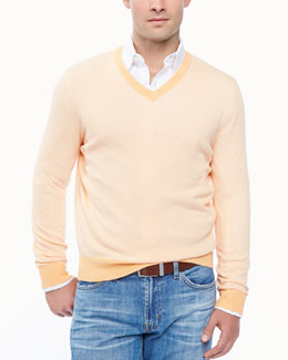 Neiman Marcus Birdseye V-neck sweater, orange