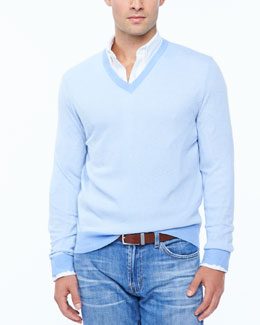 Neiman Marcus Birdseye V-neck sweater, light blue