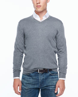 Neiman Marcus Tipped V-neck sweater, gray