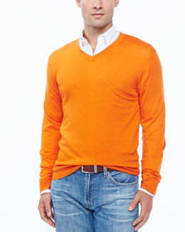 Neiman Marcus Tipped V-neck sweater, orange