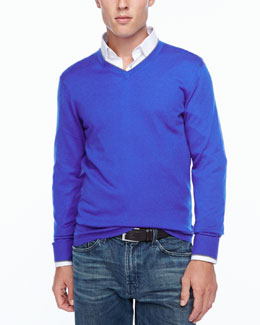 Neiman Marcus Tipped V-neck sweater, blue