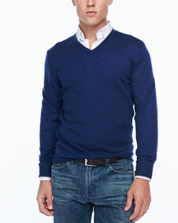 Neiman Marcus Tipped V-neck sweater, navy