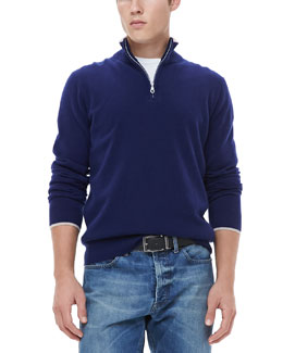Neiman Marcus Half-Zip Sweater with Contrast Trim, Navy