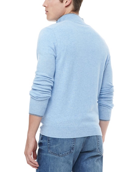 Half-Zip Sweater with Contrast Trim, Light Blue