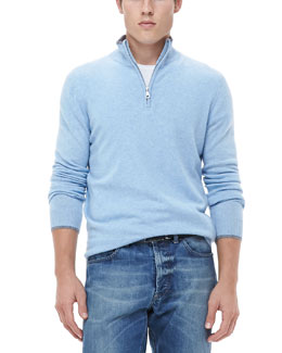 Neiman Marcus Half-Zip Sweater with Contrast Trim, Light Blue