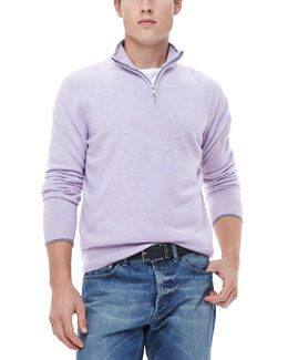 Neiman Marcus Half-Zip Sweater with Contrast Trim, Lavender