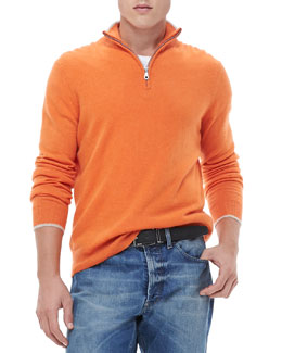 Neiman Marcus Half-Zip Sweater with Contrast Trim, Orange