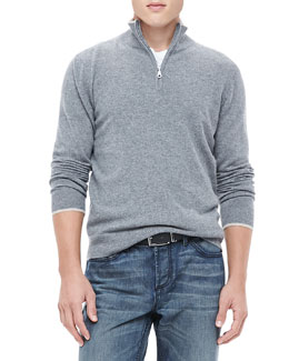 Neiman Marcus Half-Zip Sweater with Contrast Trim, Gray