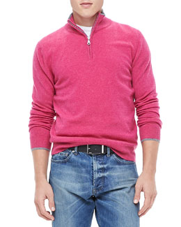 Neiman Marcus Half-Zip Sweater with Contrast Trim, Raspberry