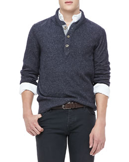 Neiman Marcus Shawl Collar Sweater, Navy
