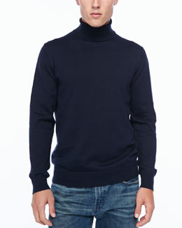 Neiman Marcus Egyptian cotton turtleneck, marine