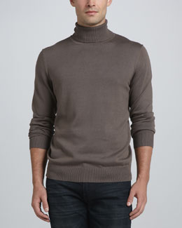 Neiman Marcus Egyptian Cotton Turtleneck, Brown