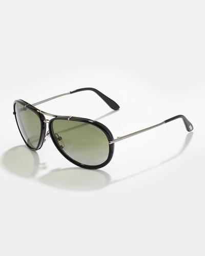 Tom Ford Cyrille Men's Polarized Aviator Sunglasses, Black