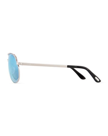 Marko Men's Aviator Sunglasses, Silver/Mirrored Blue