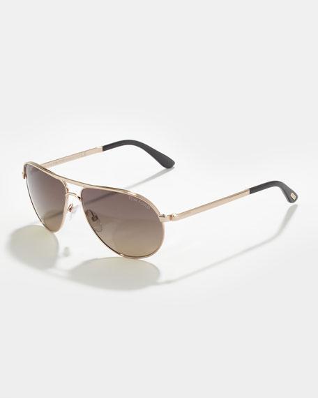 Marko Men's Polarized Aviator Sunglasses, Rose/Gray